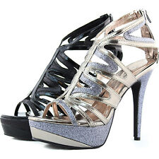 Women Evening  Platform Sandals Open Toe Glitter Strap Rhinestone Pump Shoes