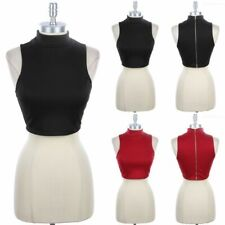 Mock Neck Sleeveless Crop Tank with Zippered Back Solid Sexy Clubwear Span S M L