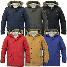 Mens Jacket Parka Coat Brave Soul Padded Hooded Fur Zip Lined Hoody Winter New
