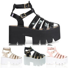 NEW WOMENS LADIES CLEATED SOLE HIGH HEEL CHUNKY PLATFORM SANDALS SHOES SIZE 3-8