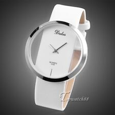 New PU Leather Transparent Dial Alloy Quartz Lady Girl Women Wrist Watch