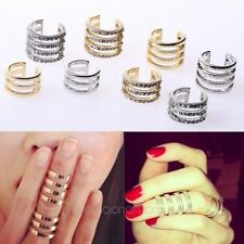 Gold/Silver Fashion Stack Plain/Crystal Above Knuckle Band Mid Finger Tip Ring