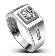 A305926 Men's 0.8Ct Simulated Diamond Ring 18K White Gold EP Silver, Many Size