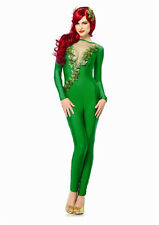 Sexy Batman Poison Ivy Girl Green Jumpsuit Outfit Adult Halloween Costume NEW