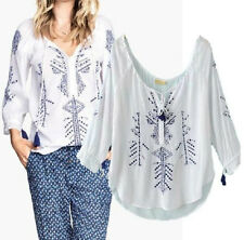 Ladies Blue Embroidery cotton hemp Tassels Top Blouse Shirts S M L White