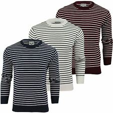 Mens Jumper Brave Soul 'Brendan' Stripe Crew Neck Cotton Sweater