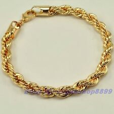 """8.7""""7mm22g REAL 18K CHAMPAGNE GOLD PLATED BRACELET ROPE GP,1-3pcs Wholesale Lots"""