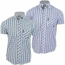 Mens Lambretta Shirt Gingham Check Button Down Collar Short Sleeves