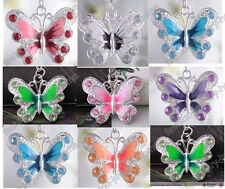 Hot new selling20/50pcs Silver Plated Enamel Rhinestone Crystal Butterfly Charms