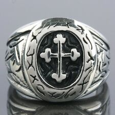 1Pc Fashion Men Stainless Steel Carved Cross Crucifix Finger Ring Biker Jewelry