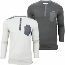 Mens  Long Sleeve Grandad Collar Jersey T-Shirt  size small only