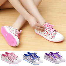 New Girl's Women's Canvas Low Top Lace Up Sneakers Casual Flower Printing Shoes