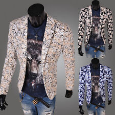 Men's casual party punk style printing Print Designer Suit Jacket Fitted Blazer