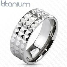 Solid Titanium Pyramid Spikes Wide Band Ring Wedding Band 8mm Width Sz8~ Sz13