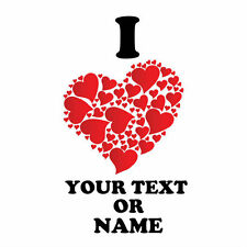 I LOVE ( heart ) Personalised text / name t shirt iron on transfer valentines 12