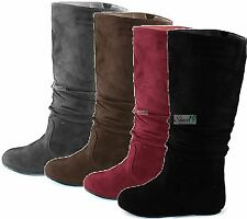 Women Comfy Round Toe Mid Calf Knee High Flat Heel Fashion Casual Slouch Boots