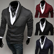 New fanshion Casual Solid color Simple Patchwork V-Neck Knitwear men's clothing