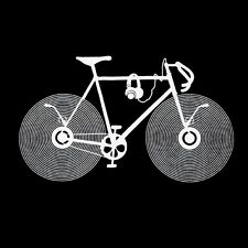 funky Bicycle Bike LP disc DJ T-SHIRT Club Party headphones fixed gear tee S-XL