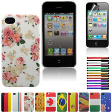 Fashion Pattern Hard Case Cover Back Protector for iPhone 4 4S+ Pen +Screen Film