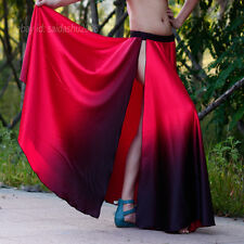 NEW belly dance sexy skirt side slit gradient colors multi color dance skirt