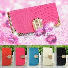 Luxury Crocodile Diamond Magnetic Bling Crystal Leather Flip Wallet Case Cover