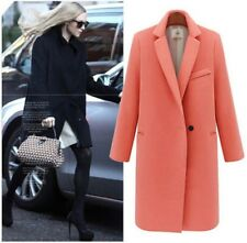 fashion womens turn down collar one button long coat wool blend slim fit outwear