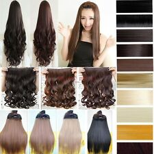 UK Long New Women Hair Extensions Clip In Half Full Head Human Made Hairpiece mm