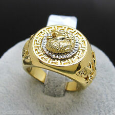 Men's Ring Cool Lion Eagle Star Yellow Gold Plated Size 8-12