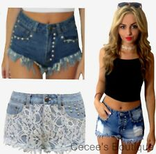 NEW LADIES WOMENS BLUE STUD LACE RIPPED DENIM SHORTS HOT PANTS FESTIVAL (FW)