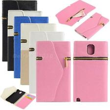 Leather Zipper Flip Wallet Card Case Cover For Samsung Galaxy Note 3 N9000 DTEG