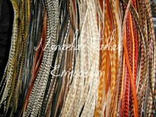 Hair Feather  Extensions LONG NATURAL WHOLESALE Grizzly Whiting Saddle 10pc