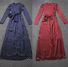 Fashion-Vintage-Ladies-Women-Chiffon-Polka-Dot-Round-Neck-Long-Maxi-Belt-Dress