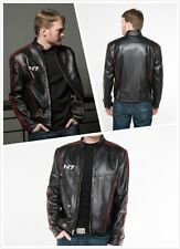 Cosplay Mass Effect 3N7 commander shepard stylish blac leather jacket coat