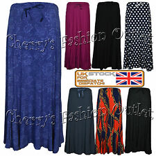 Womens Ladies Plus Size Printed Stretch Flared Maxi Elasticated Skirt UK 14-28