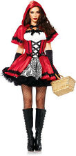 Sexy Gothic Little Red Riding Hood Peasant Dress Outfit Adult Halloween Costume