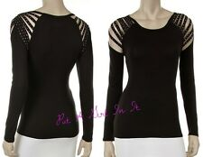 PLUS SIZE SEXY CRYSTAL BLACK STUD SLASHED SHOULDER BIKER CHIC SHIRT 1X 2X 3X