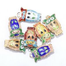 Love Equisite Owl Cloisonne Beads Spacer Pendants Finding Making 20 pcs
