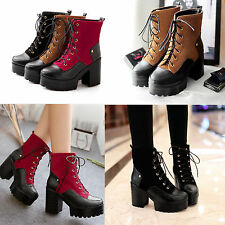Womens Lace Up Round Toe Chunky heels High Platform Motocycle Punk Shoes Boots