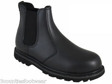 STEEL TOE CHELSEA BOOTS - LEATHER WORK SAFETY BOOTS - BLACK LEATHER FREE P&P