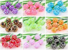 20Pcs 14Colors Full Of Rhinestones Crystal Ball Acrylic Resin Round Spacer Beads