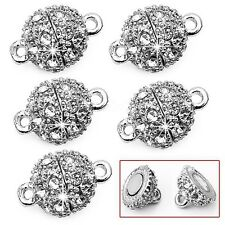 5 Pcs Round Crystal Rhinestone Strong Magnetic Clasps 9mm