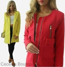 NEW WOMENS LADIES RED YELLOW  DUSTER BOYFRIEND COAT WITH ZIP DETAIL (JT)