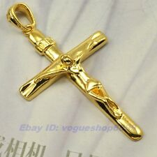"""2.6"""" CROSS JESUS PENDANT,REAL 18K YELLOW GOLD PLATED SOLID GP,1-3pcs Wholesale"""