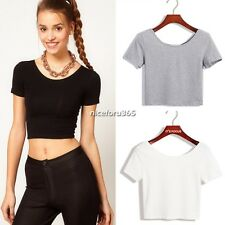 Womens Short Sleeve Round Neck Tops Ladies Casual Crop Top ♥ Casual T shirt N4U8