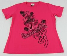 Womens NWT Browning Buckmark Short Sleeve Roses Fuchsia Pink T-Shirt Any Size