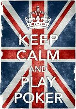 KC18 Stile Vintage Union Jack Keep Calm PLAY POKER DIVERTENTE poster stampa A2 / A3 / A4
