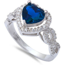 Heart Shape Blue Sapphire & Cz  .925 Sterling Silver Ring Sizes 5-10