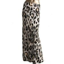 New Womens Snow Leopard Animal Print Design Long Full Length Maxi Dress Skirt