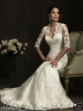 2014 New Half Sleeve White/Ivory Lace Bridal Wedding Dresses Custom Made Size