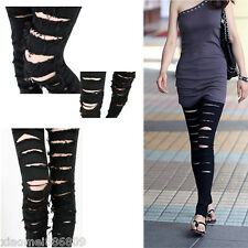 Fashion Ladies Cut-out Punk Ripped Woman Jeans Jeggings Trousers Black